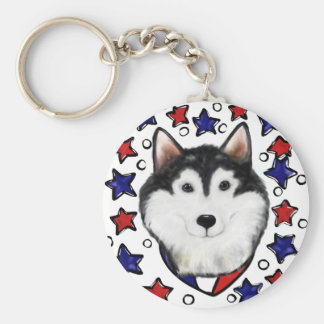 4th of July Alaskan Malamute Keychain