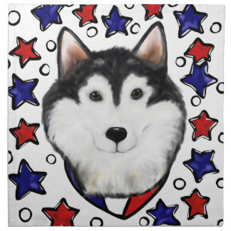 4th of July Alaskan Malamute Napkin