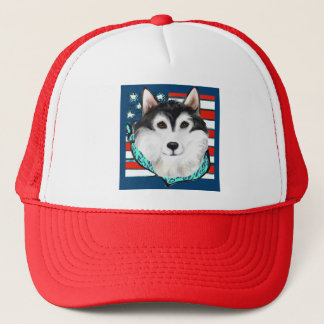 4th of July Alaskan Malamute Trucker Hat