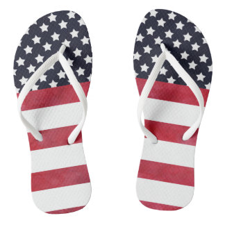 4th of July American Flag Independence Day Flip Flops