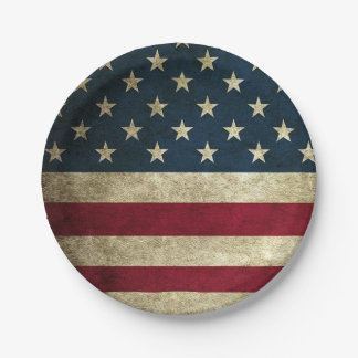 4th of July American Flag Rustic Paper Plates 7 Inch Paper Plate