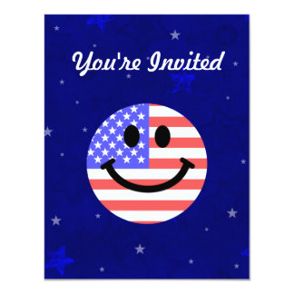"""4th of July American Flag Smiley face 4.25"""" X 5.5"""" Invitation Card"""