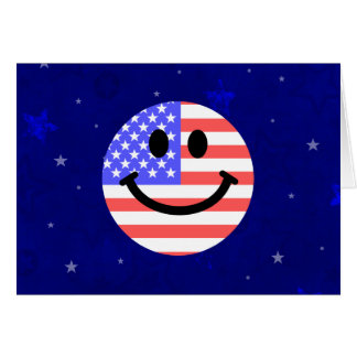4th of July American Flag Smiley face Card