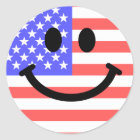 4th of July American Flag Smiley face Classic Round Sticker