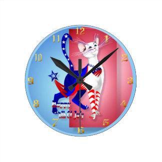 4th Of July American Kitty Wallclock