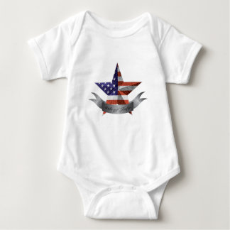 4th of July Banner and Star with USA Flag Texture Baby Bodysuit