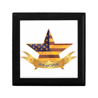 4th of July Banner and Star with USA Flag Texture Gift Box
