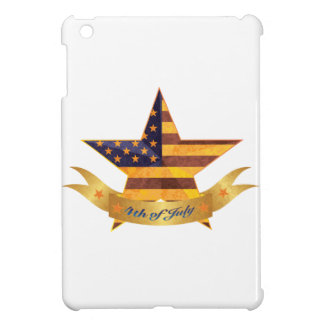 4th of July Banner and Star with USA Flag Texture iPad Mini Cases