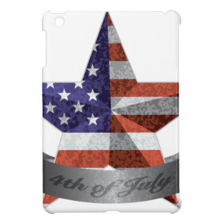 4th of July Banner and Star with USA Flag Texture iPad Mini Cover