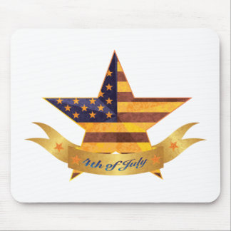 4th of July Banner and Star with USA Flag Texture Mouse Pad