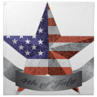 4th of July Banner and Star with USA Flag Texture Napkin