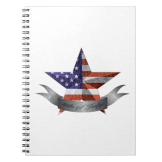 4th of July Banner and Star with USA Flag Texture Notebooks