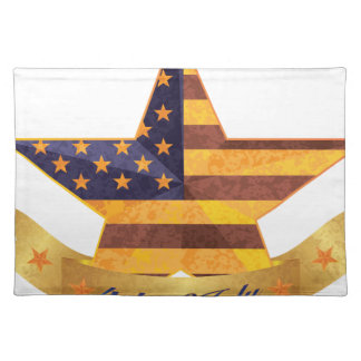 4th of July Banner and Star with USA Flag Texture Placemat