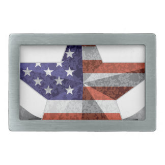 4th of July Banner and Star with USA Flag Texture Rectangular Belt Buckle