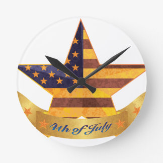 4th of July Banner and Star with USA Flag Texture Round Clock