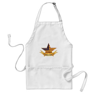 4th of July Banner and Star with USA Flag Texture Standard Apron
