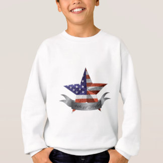 4th of July Banner and Star with USA Flag Texture Sweatshirt