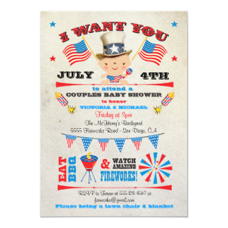 4th of July Barbecue bbq Baby Shower invitations