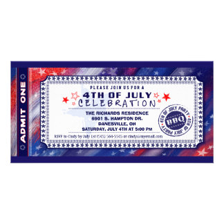 4th of July BBQ Admit One Ticket Invitation Photo Card Template