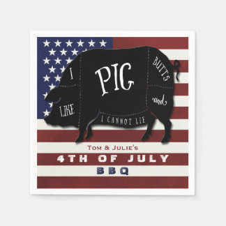 4th of July BBQ I Like Pig Butts and I Cannot Lie Paper Napkins