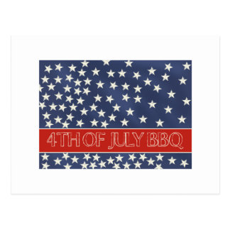 4th of July BBQ invitation Postcard