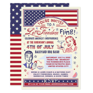 4th of July BBQ Party   Retro Freedom Fling Humor Card
