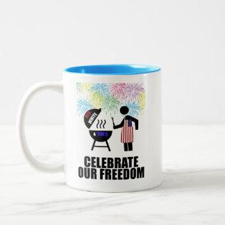 4th of July BBQ Two-Tone Coffee Mug