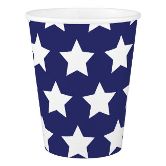 4th of July: Blue Paper Cups with Large Stars