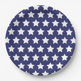 4th of July: Blue Paper Plates with Large Stars