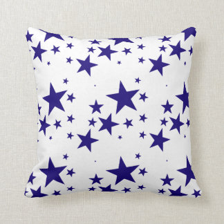 4th of July Blue Star Splash Pattern on White Throw Pillow