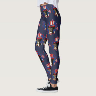 4th of July Boxer dog art leggings