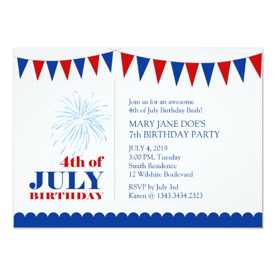 4th of July Children's Birthday Party Invitation