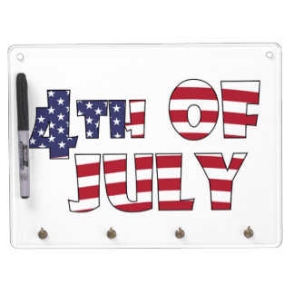 4TH OF JULY DRY ERASE BOARD WITH KEYCHAIN HOLDER