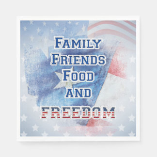 4th of July - Family, Friends, Food, & Freedom Disposable Napkin