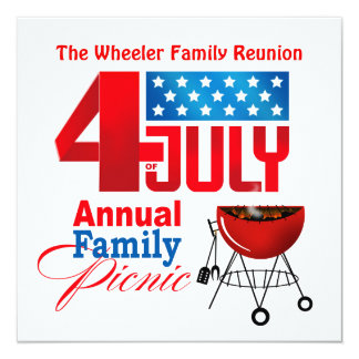 """4th of July Family Reunion Picnic BBQ Cookout 5.25"""" Square Invitation Card"""