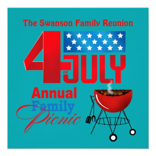 4th of July Family Reunion Picnic BBQ Cookout Invitations
