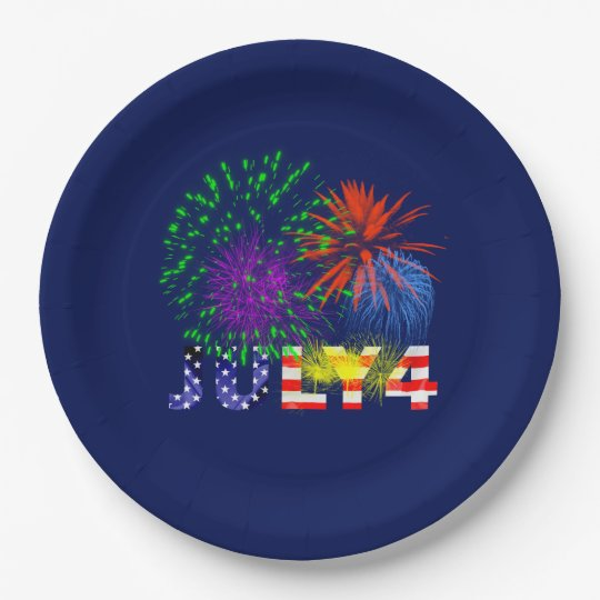 4th of July Fireworks 9 Inch Paper Plate