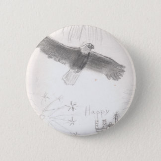 4'th of july fireworks bald eagle drawing eliana.j 2 inch round button