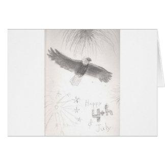 4'th of july fireworks bald eagle drawing eliana.j card
