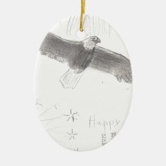 4'th of july fireworks bald eagle drawing eliana.j ceramic ornament