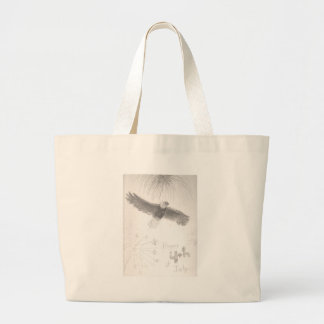 4'th of july fireworks bald eagle drawing eliana.j large tote bag