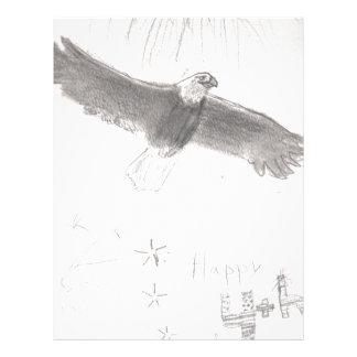 4'th of july fireworks bald eagle drawing eliana.j letterhead