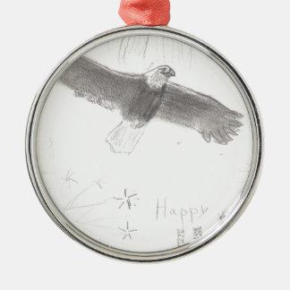 4'th of july fireworks bald eagle drawing eliana.j metal ornament