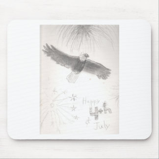 4'th of july fireworks bald eagle drawing eliana.j mouse pad