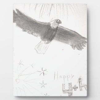4'th of july fireworks bald eagle drawing eliana.j plaque