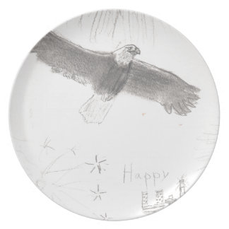 4'th of july fireworks bald eagle drawing eliana.j plate