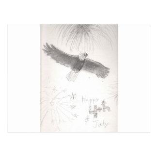 4'th of july fireworks bald eagle drawing eliana.j postcard