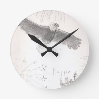 4'th of july fireworks bald eagle drawing eliana.j round clock