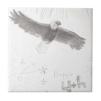 4'th of july fireworks bald eagle drawing eliana.j tile