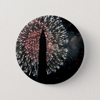 4th of July Fireworks Washington Monument 2 Inch Round Button